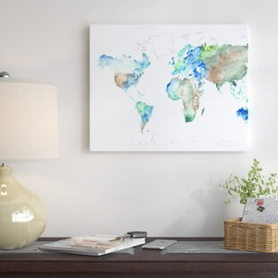 World map push pin wayfair world map painting print on wrapped canvas gumiabroncs Images