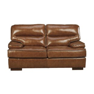 17 Stories Haines Leather Loveseat