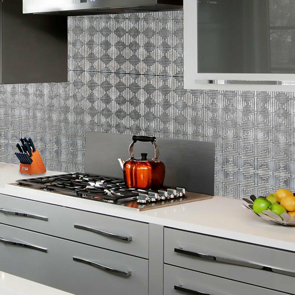 Kitchen Wall Panels | Miniquadro Backsplash Wall Paneling 18 X 24 Field Tile In Silver