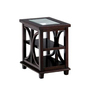 Dallaire Glass Inserted Wooden End Table by House of Hampton