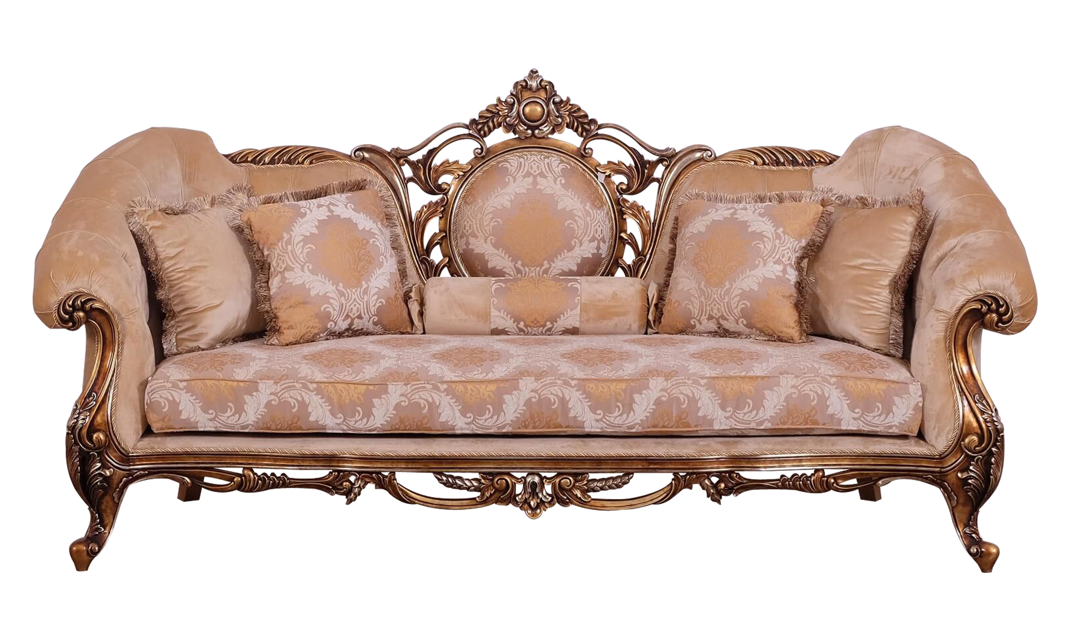 Benjara Baroque Style Wooden Sofa With Carved Decoration Brown And Black Wayfair