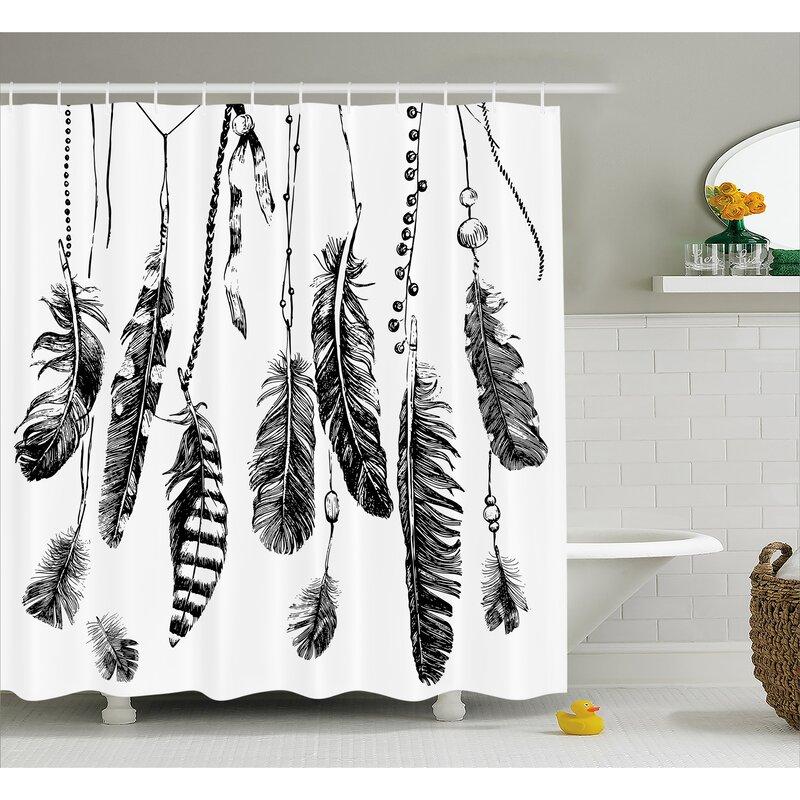 East Urban Home Feather Drawing Decor Shower Curtain Hooks Wayfair