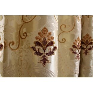 European Damask Blackout Grommet Single Curtain Panel