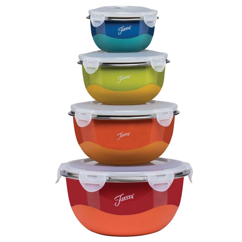 Fiesta Microwave Safe 8 Piece Mixing Bowl Set