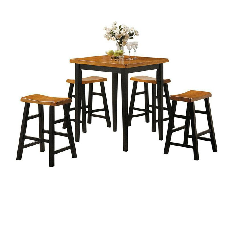 August Grove Huffman 5 Piece Counter Height Solid Wood Dining Set  Table Top Color: Oak, Chair Color: Oak/Black