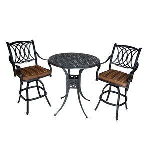 Islais 3 Piece Sunbrella Bar Height Dining Set with Cushions