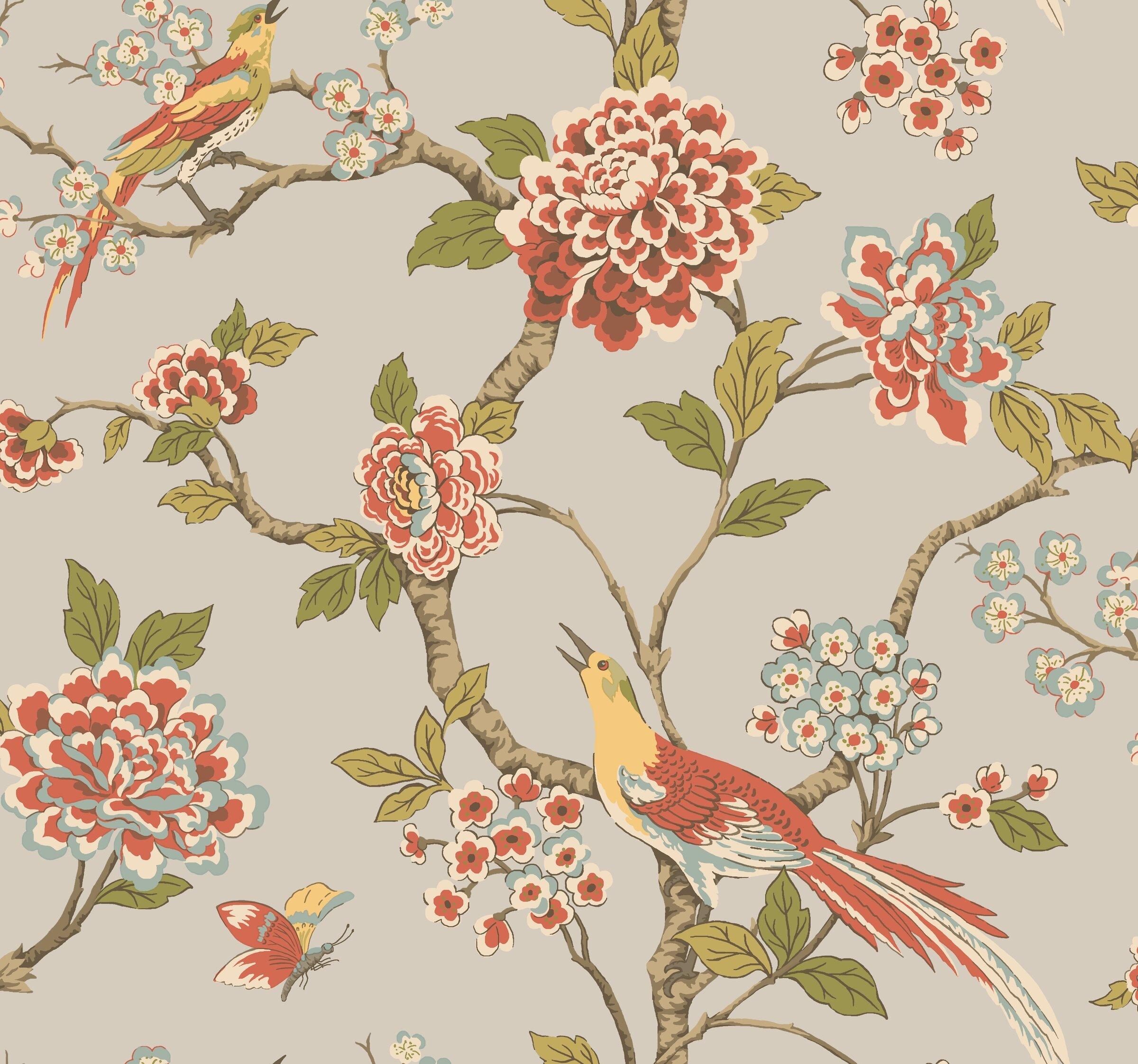 Wallpaper Roll or Sample Art Deco Nouveau Fan Fanciful Flowers