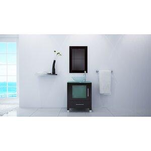 24″ Single Soft Focus Vessel Sink Modern Bathroom Vanity Set