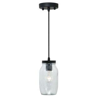 Gracie Oaks Adalwen Jar 1-Light Mini Pendant