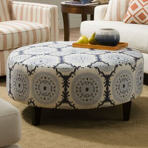 anniston asia denim blue round cocktail ottoman