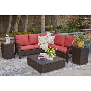 Ellie 5 Piece Rattan Sectional Seating Group with Cushions (Set of 4)