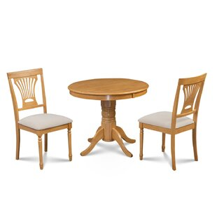 Chesterton 3 Piece Solid Wood Dining Set Alcott Hill