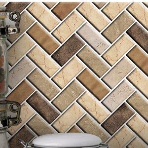 Herringbone 10 x 10 PVC Peel & Stick Mosaic Tile (Set of 6)