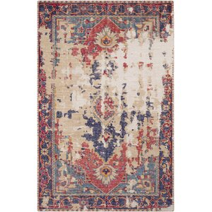 Marshfield Distressed Hand Knotted Wool Rust/Beige Area Rug