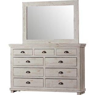 Lark Manor Castagnier 9 Drawer Dresser with Mirror