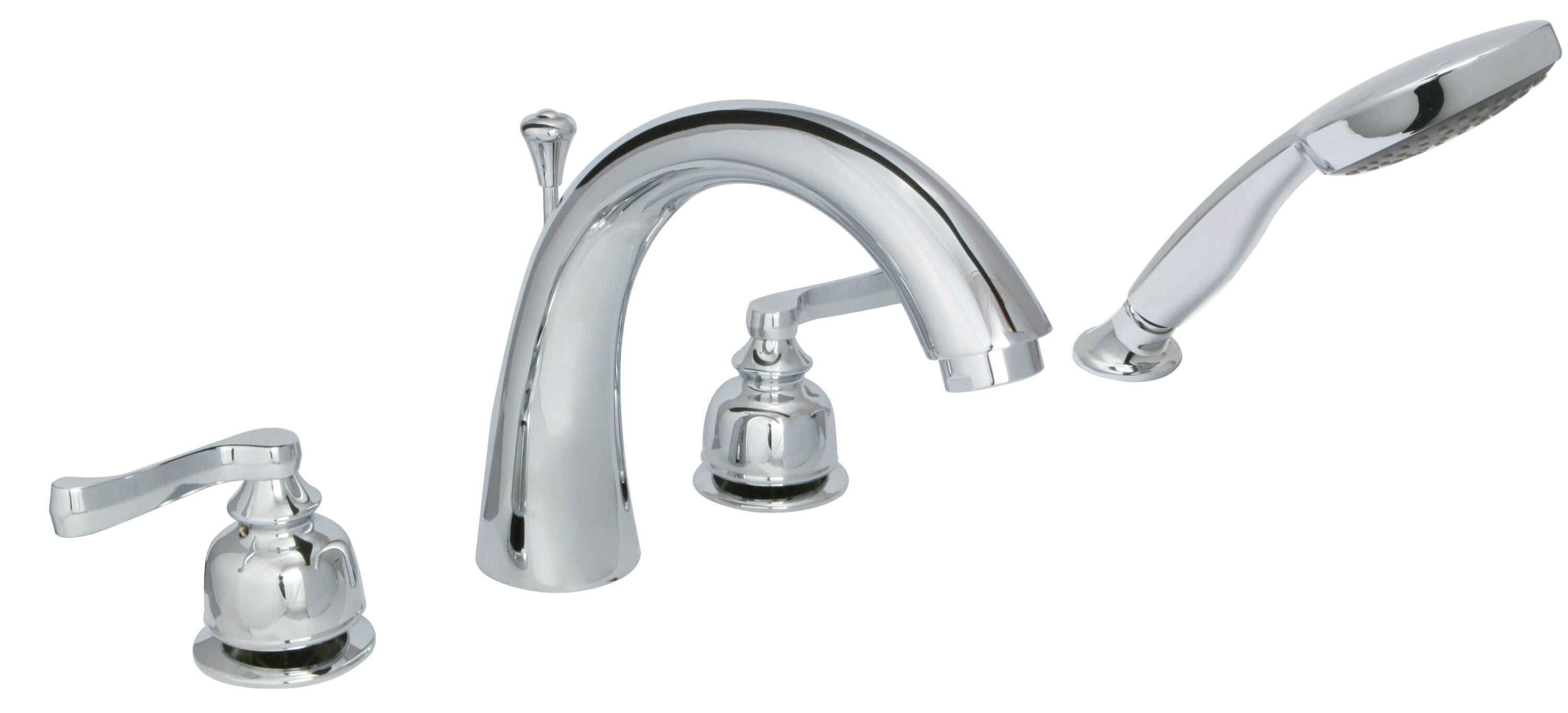 Sienna Double Handle Deck Mounted Roman Tub Faucet With Hand Shower