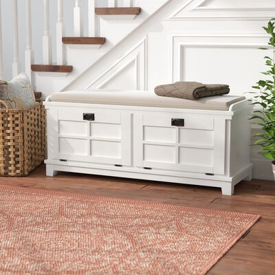 Astounding Three Posts Ferryhill Wood Storage Bench Color White Ncnpc Chair Design For Home Ncnpcorg