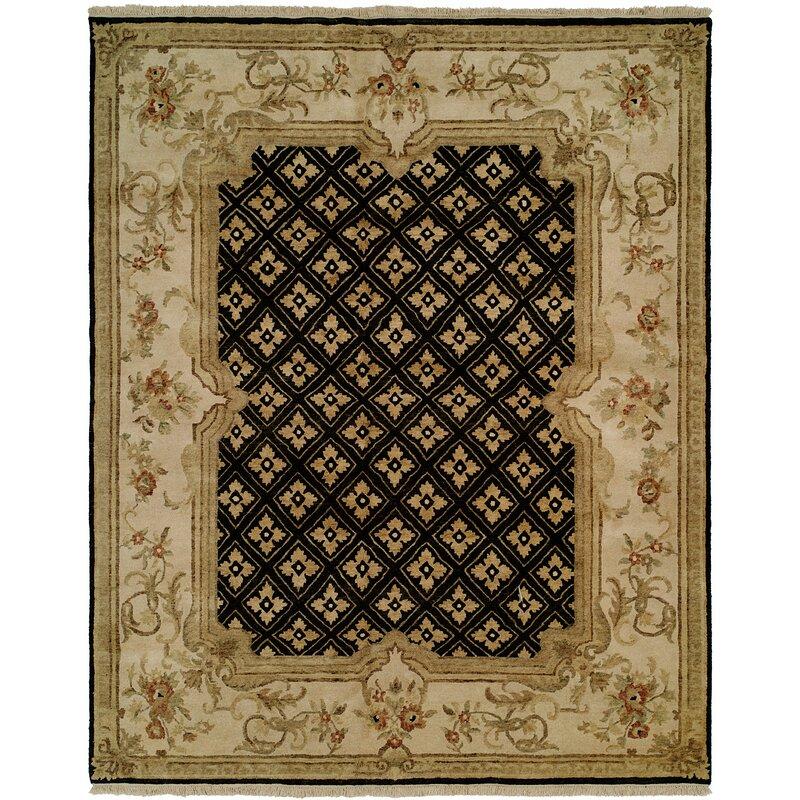 Astoria Grand Marvin Hand Knotted Wool Black Ivory Area Rug Wayfair Ca