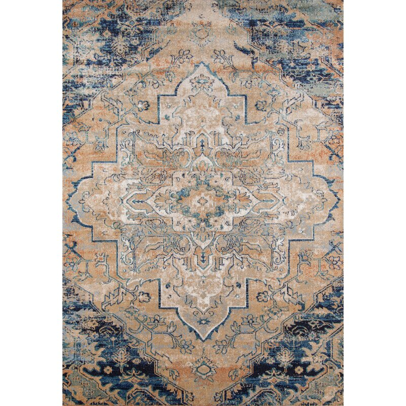 Damien Navy Tan Area Rug
