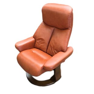 Leone Leather Manual Swivel Recliner with Ottoman