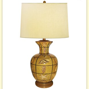 Plaid Multi Shells Hand Painted Porcelain 34 Table Lamp