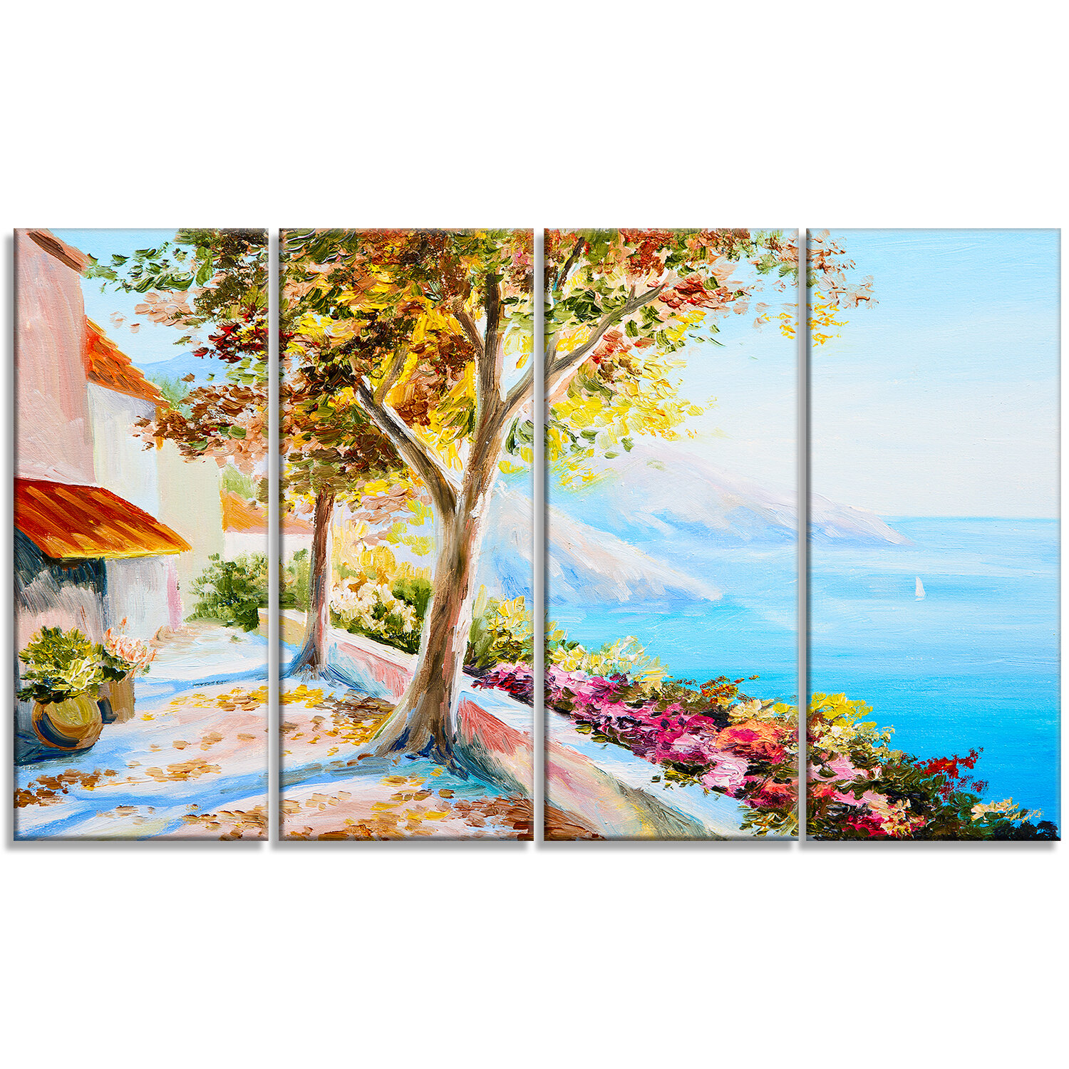 Designart House And Sea In The Fall Landscape 4 Piece Painting Print On Wrapped Canvas Set Wayfair Ca