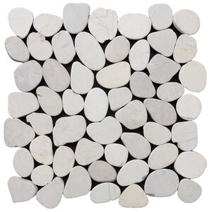 Sliced Pebble Random Sized Natural Stone Pebble Tile in White