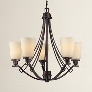 Simpson 5-Light Shaded Glass/Crystal Chandelier by Latitude Run