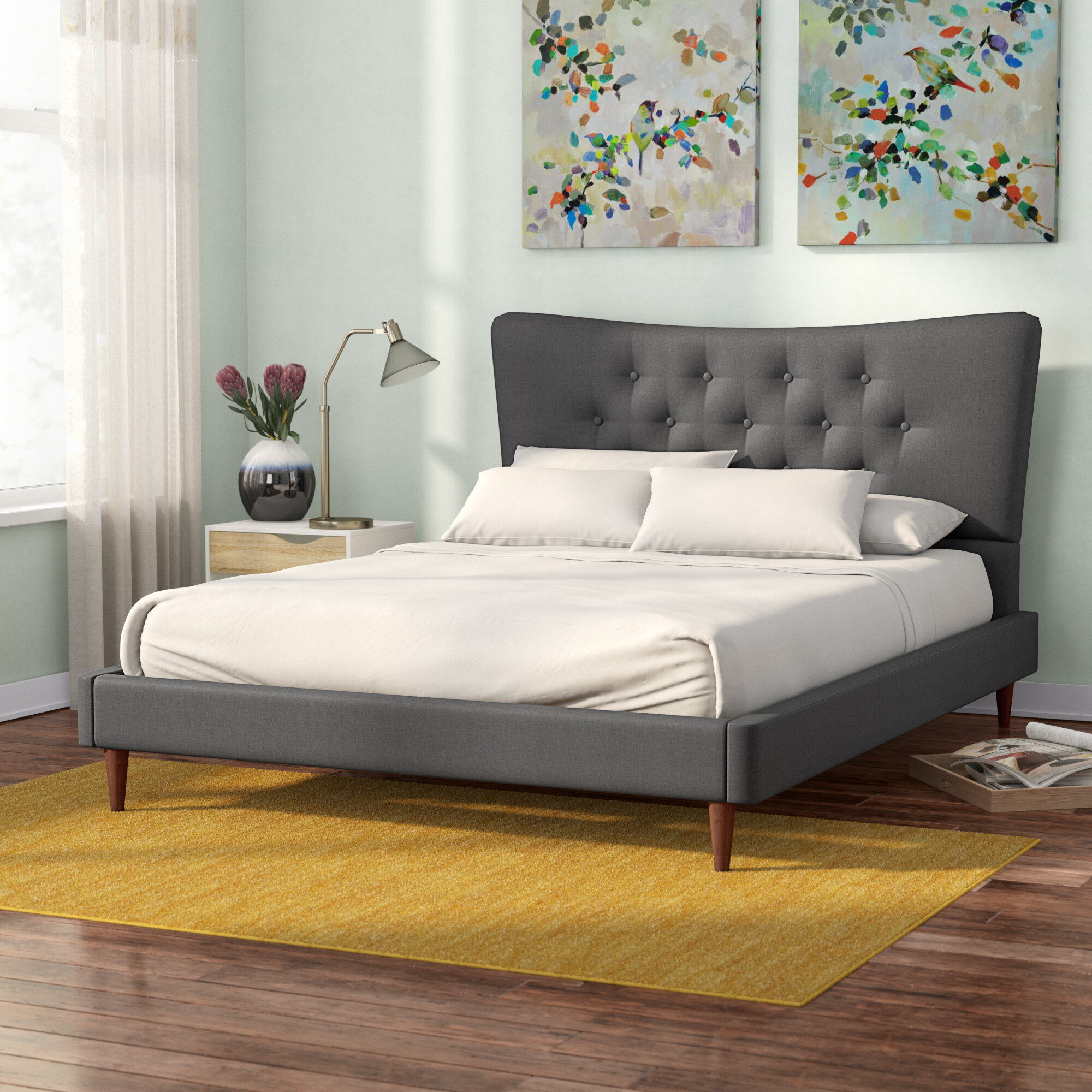 Brilliant Mizuno Upholstered Platform Bed Home Interior And Landscaping Ologienasavecom