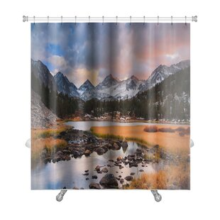 Landscapes Amazing Landscape, Beautiful Mountain Sunset Premium Shower Curtain
