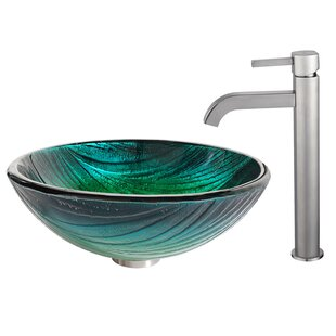Inexpensive Nei Glass Circular Vessel Bathroom Sink with Faucet By Kraus