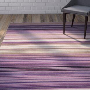 Jefferson Striped Contemporary White Lilac Area Rug