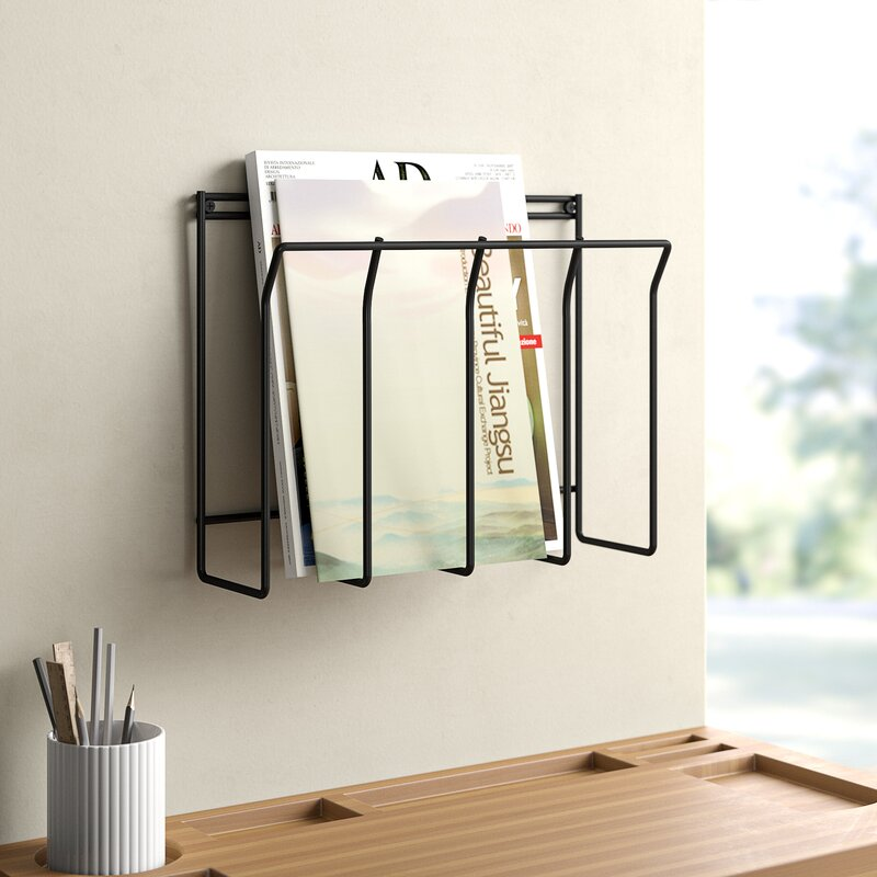 Wall Mounted Metal Wire Magazine Newspaper Books Rack Post Letter Storage Basket