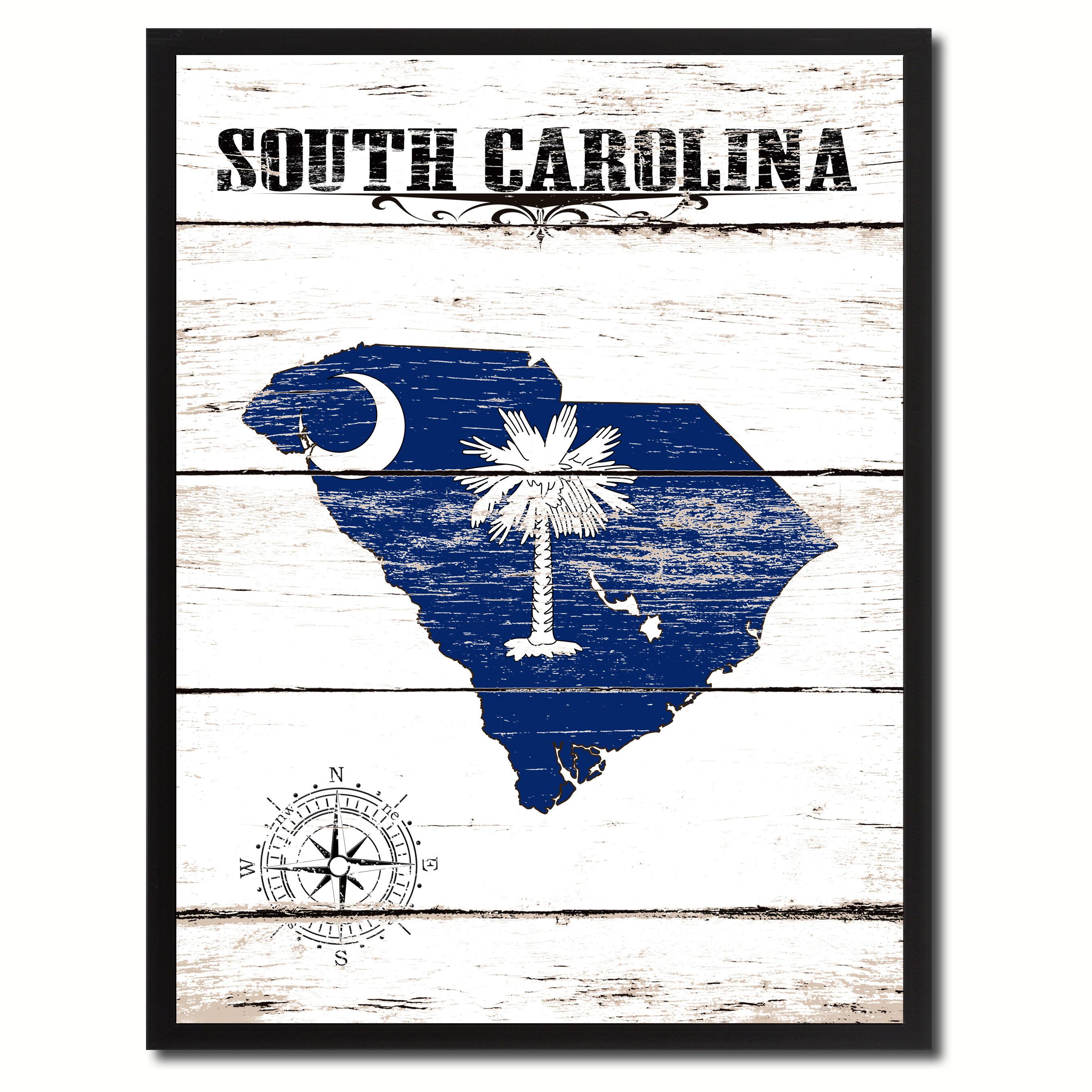 Wrought Studio South Carolina State Vintage Flag Framed Graphic Art Print Wayfair