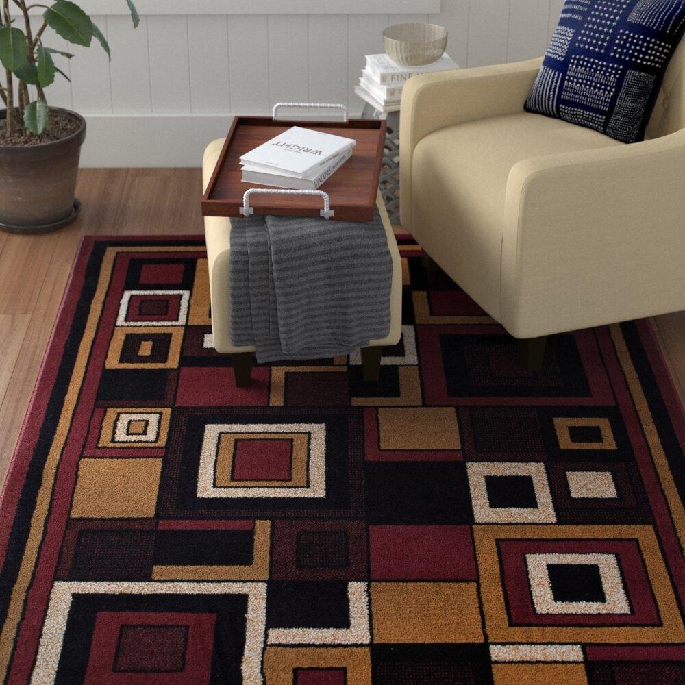 Ebern Designs Vannesa Geometric Red Area Rug Reviews Wayfair