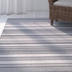Anguila Stripe Gray Indoor/Outdoor Area Rug