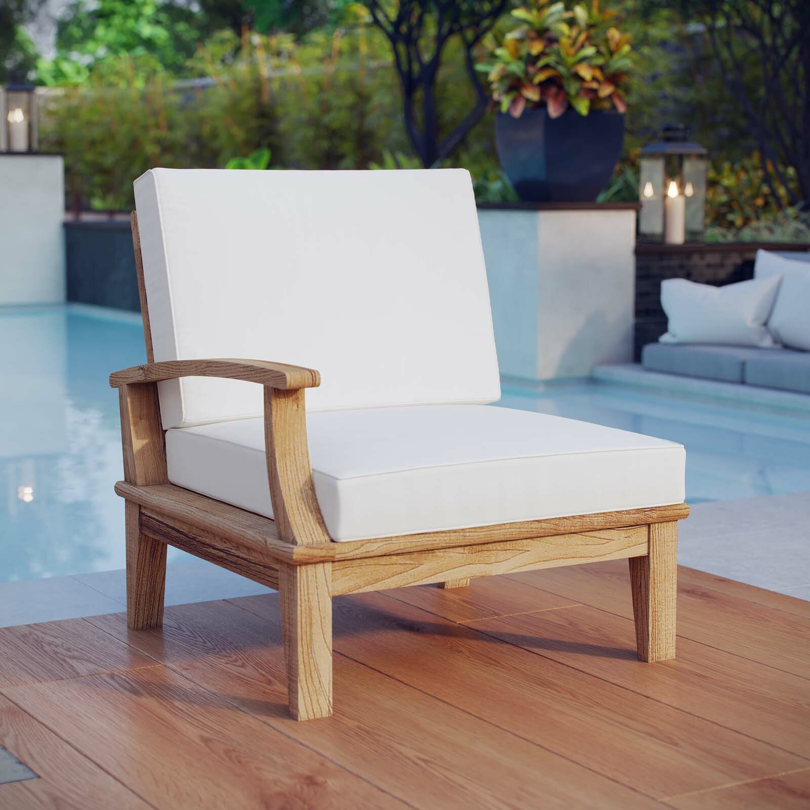 Beachcrest Home Teak Patio Chair With