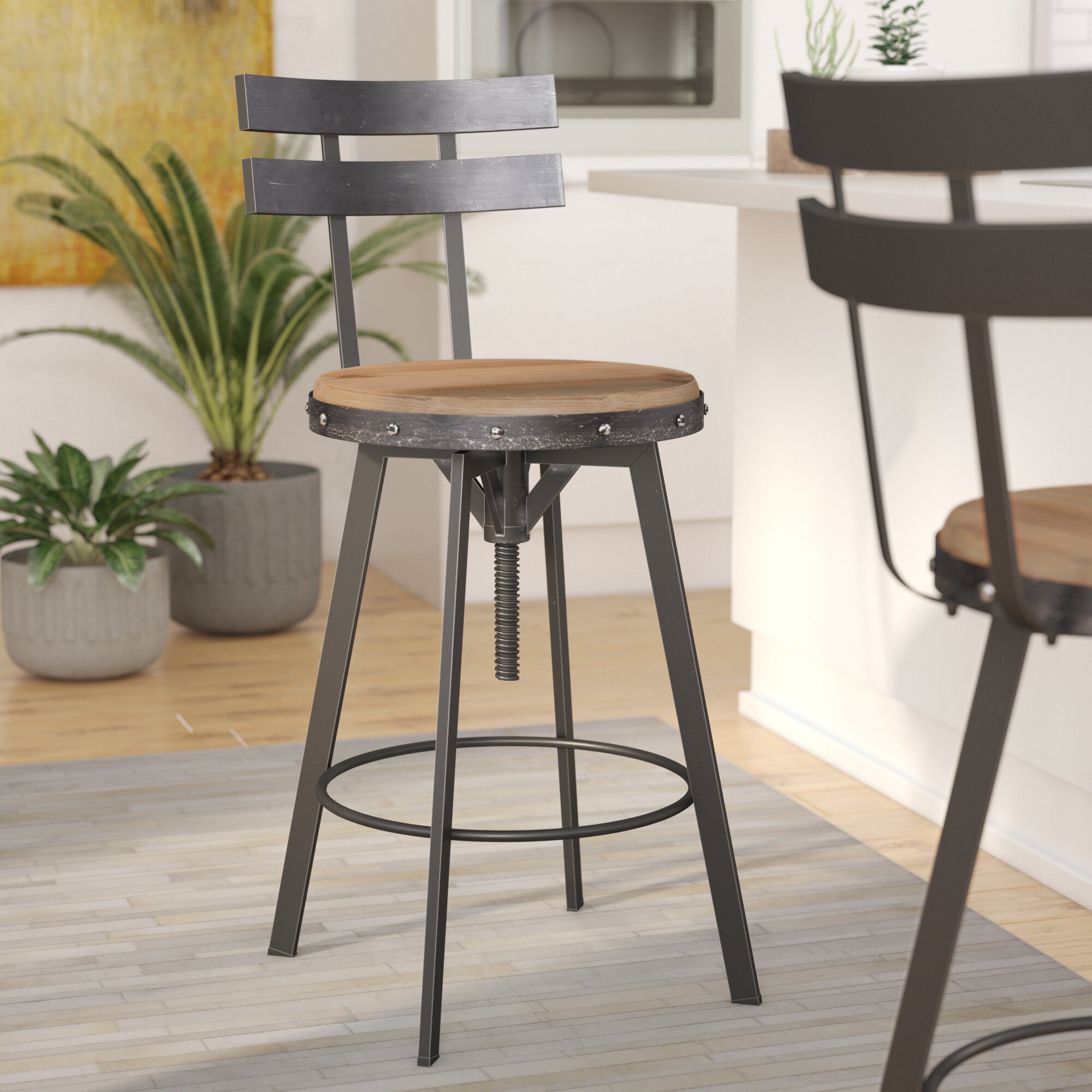 Amazing Sylvania Adjustable Height Swivel Bar Stool Gmtry Best Dining Table And Chair Ideas Images Gmtryco