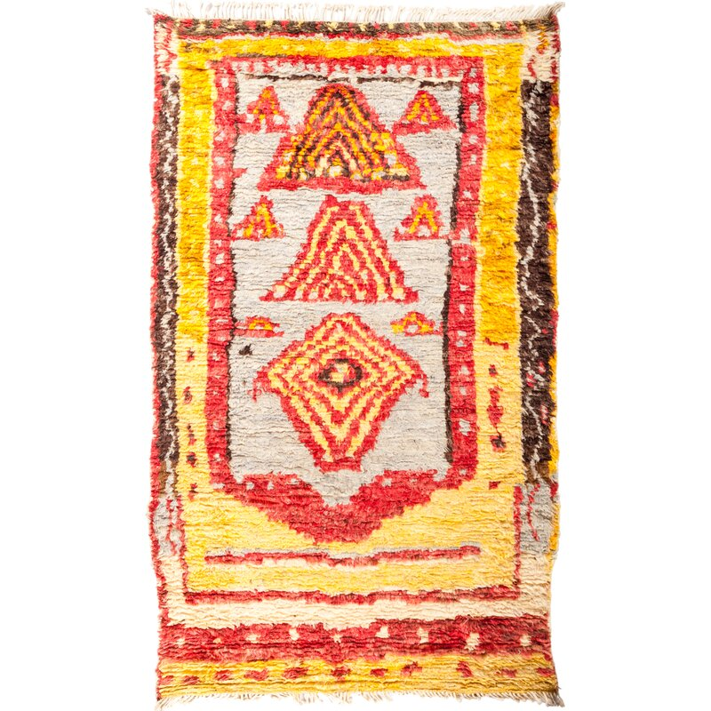 Solo Rugs One Of A Kind Tullu Hand Knotted Yellow Red Area Rug