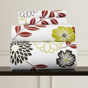 Doody Floral Printed Extra Deep Pocket Flannel Sheet Set by Charlton Home Discount