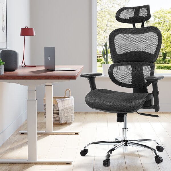 Black Simple Home Ergonomic Desk Office Chair Mesh Computer Chair Lumbar Support Modern Executive Adjustable Stool Rolling Swivel Chair for Back Pain Chic Modern Best Home Computer Office Chair