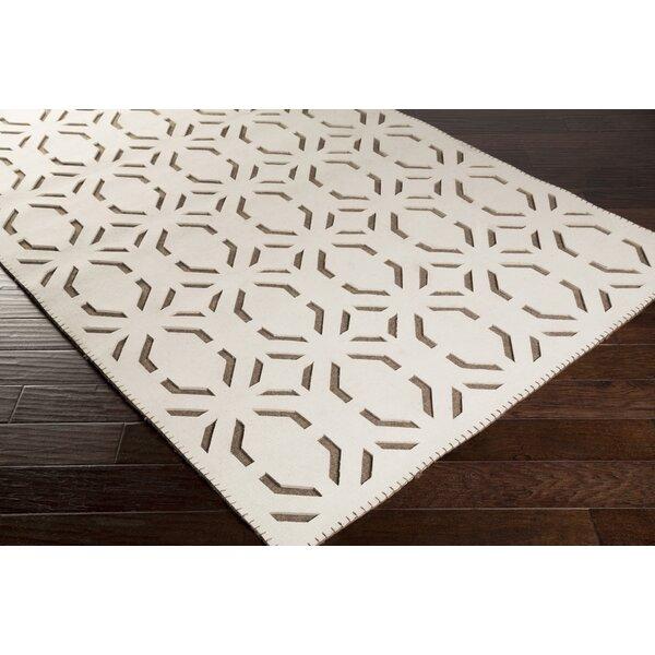 Union Rustic Arthur Geometric Handwoven Wool Beige Area Rug Wayfair Ca