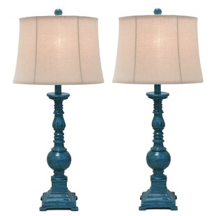 Kerry Distressed Polystone Pedestal 31 Table Lamp (Set of 2)