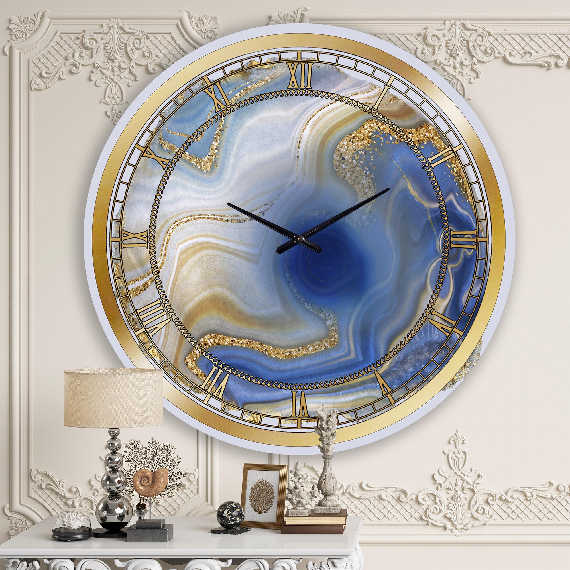 East Urban Home Oversized Ocean Blue Golden Jasper Agate I Wall Clock Reviews Wayfair