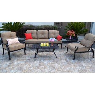 Three Posts Sidney 5 Piece Sunbrella Sofa Set with Cushions