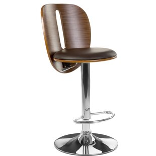 Hopson Bentwood/Leather Height Adjustable Swivel Bar Stool By Mercury Row