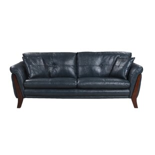 Price Check Makeba Mid-Century Modern Real Leather Sofa by Orren Ellis Reviews (2019) & Buyer's Guide