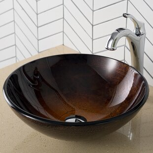 Buying Glass Circular Vessel Bathroom Sink with Faucet By Kraus