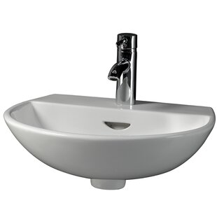 Reserva 450 Vitreous China 18 Wall Mount Bathroom Sink with Overflow Barclay