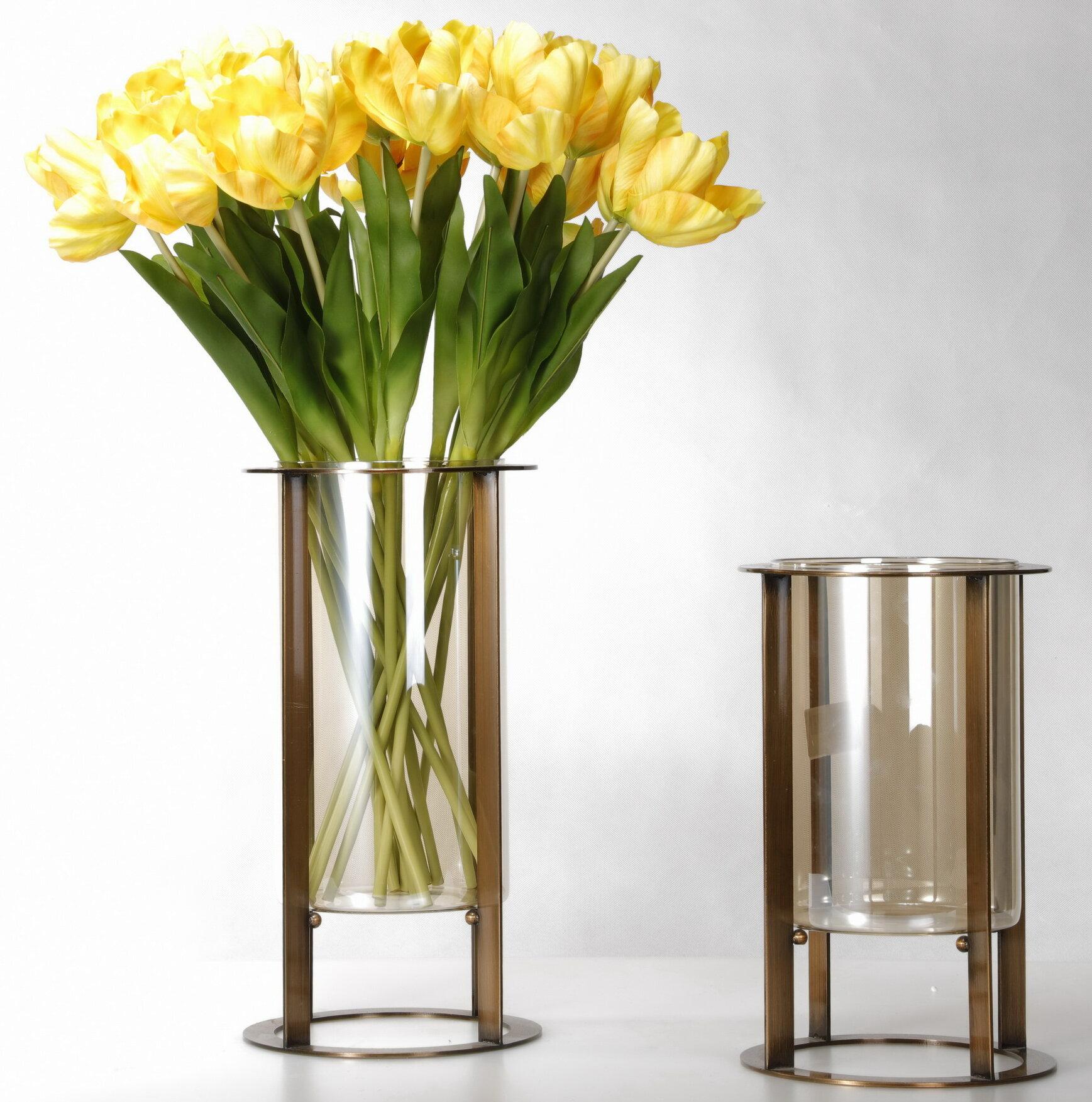 Everly Quinn Metal Glass Floor Vases Set Of 2 Wayfair